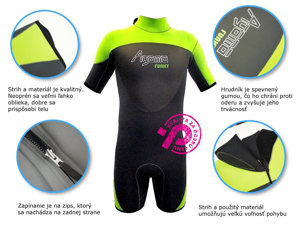 krátky neoprén z pevného, odolného materiálu, ľahko sa oblieka, poskytuje veľkú voľnosť pohybu