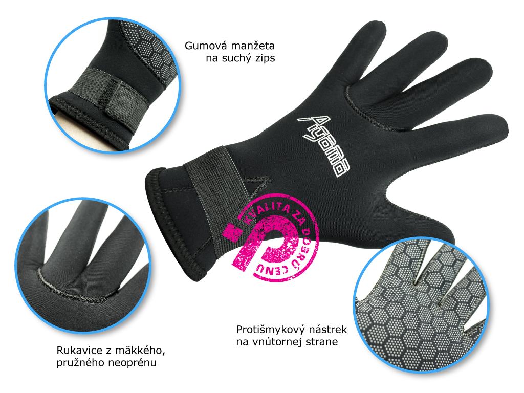 rukavice z neoprénu Agama, s protišmykovým nástrekom na dlani a fumenou manžetou