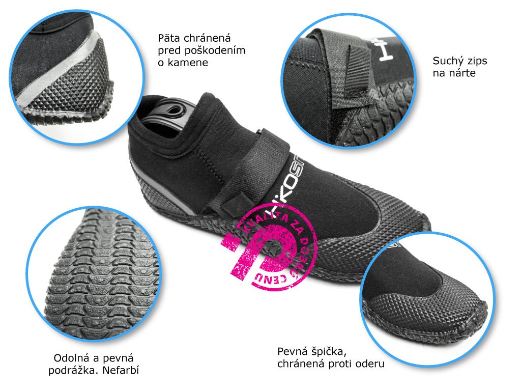 neoprénové topánky Hiko Sneaker so suchým zipsom, pevná podrážka, chránená päta a špička