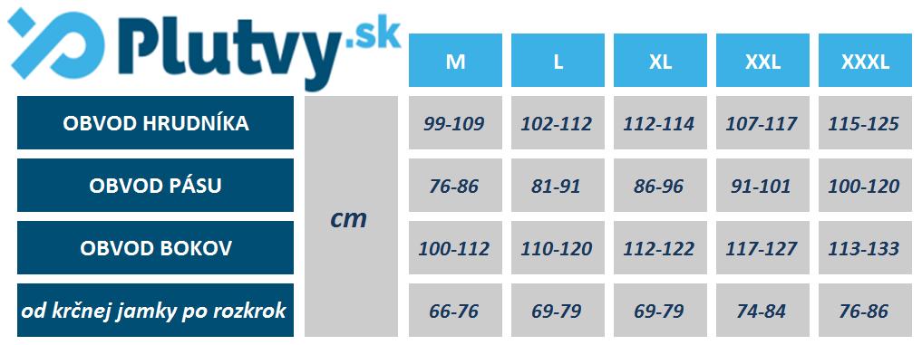Tabuľka rozmerov Neoprénu Agama Funky 3mm na stránke plutvy.sk