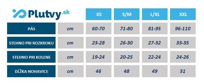 neoprénové šortky na otužovanie do studenej vody, tabuľka veľkostí, v predajni Plutvy.sk