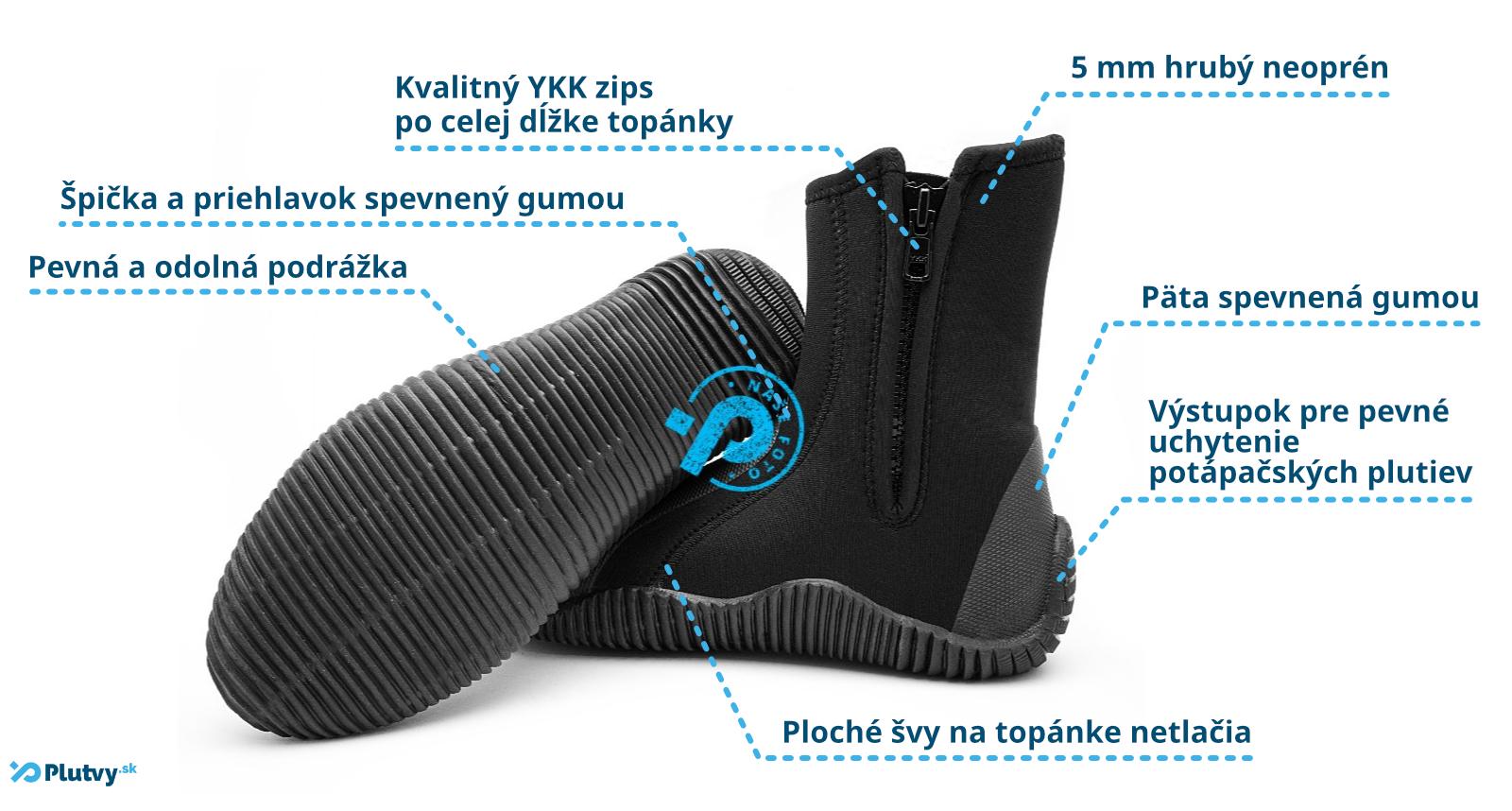 vysoké neoprénové topánky Agama Stream s pevnou podrážkou, kvalitne ušité, odolný zips