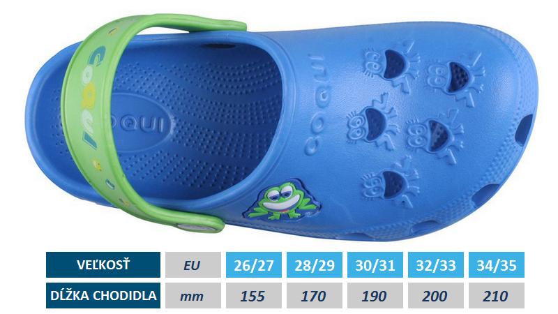detské šlapky do vody Coqui, veľkosti, rozmery, v obhcode Plutvy.sk skladom