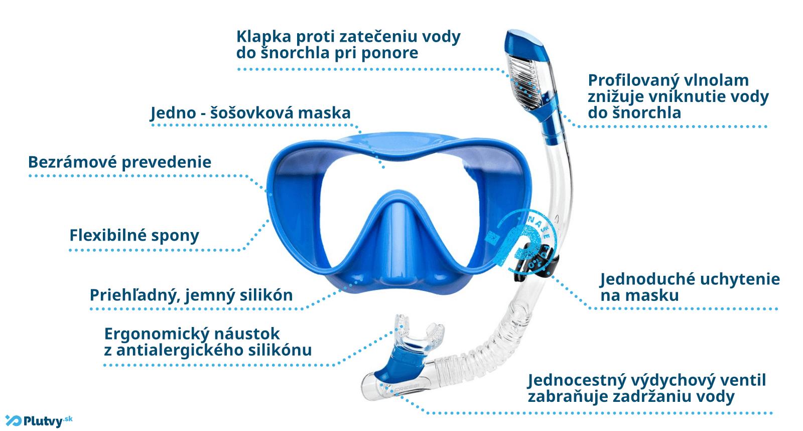 Kvalitný a štýlový šnorchlovací set Cressi F1 Dry Junior pre deti a mládež v Plutvy.sk v Bratislave