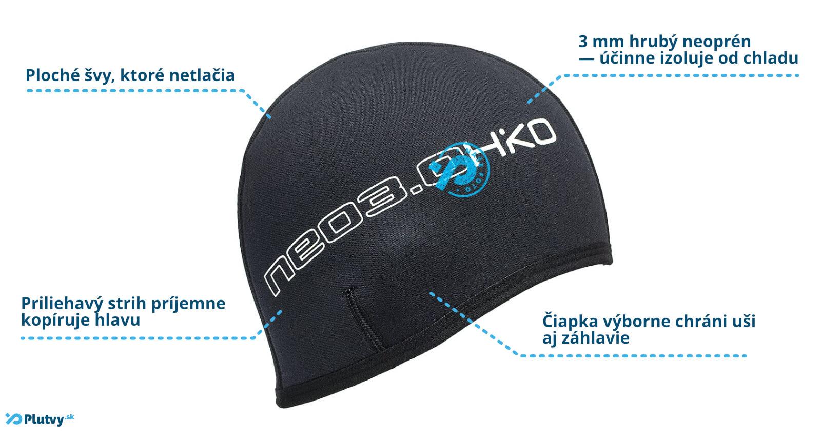 Hrubá čapica z neoprénu do studenej vody pre otužilcov, Hiko Neo 3mm, v Plutvy.sk, Bratislava