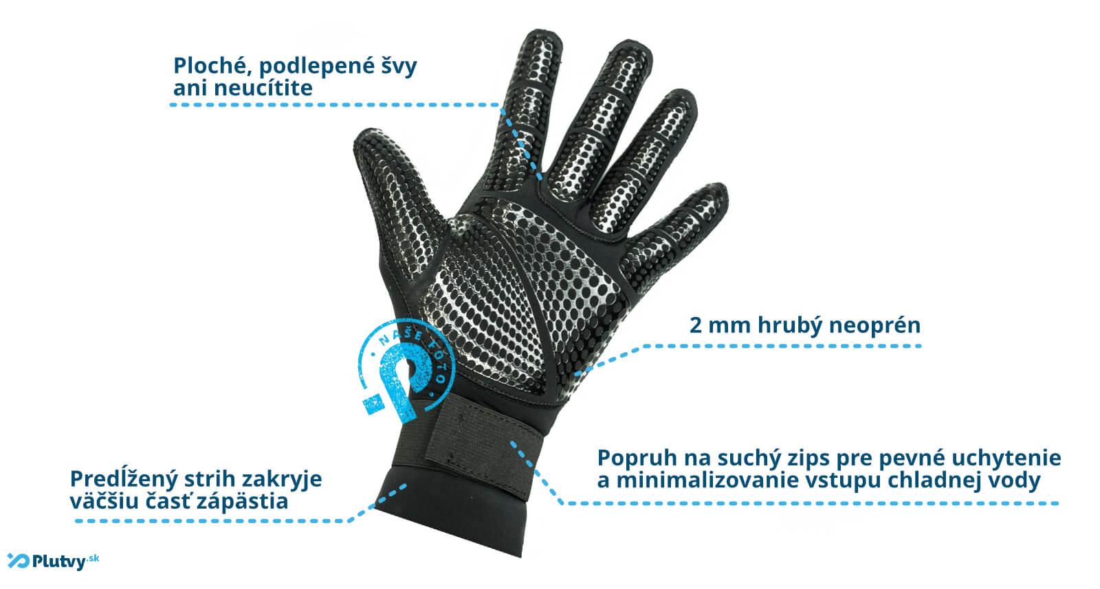 rukavice z neoprénu Hiko Slim, z mäkkého pružného neoprénu, s manžetou na zápästí a protišmykovým, spevňujúcim nástrekom na dlani