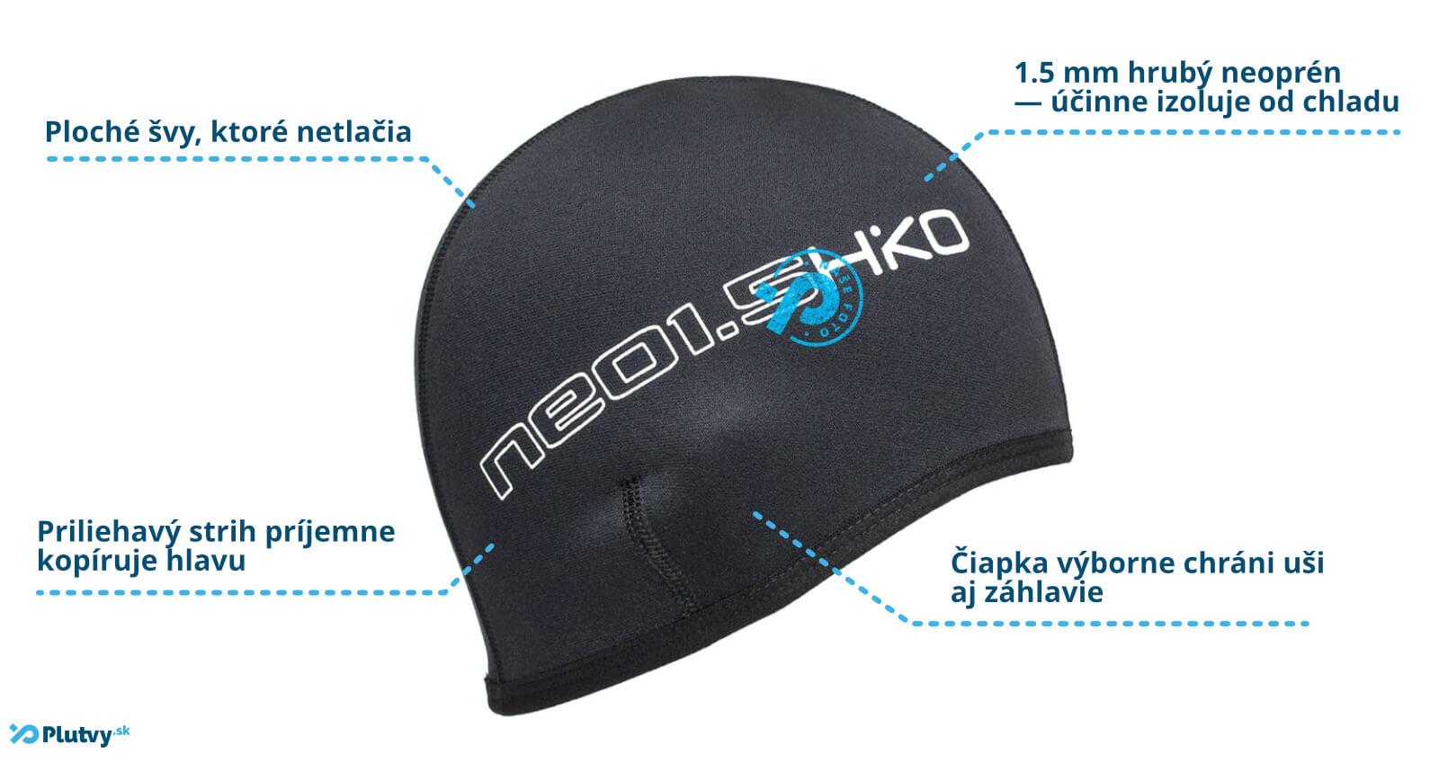 Neoprénová čiapka Hiko Neo 1.5mm pre otužilcov a vodákov v Plutvy.sk, Bratislava