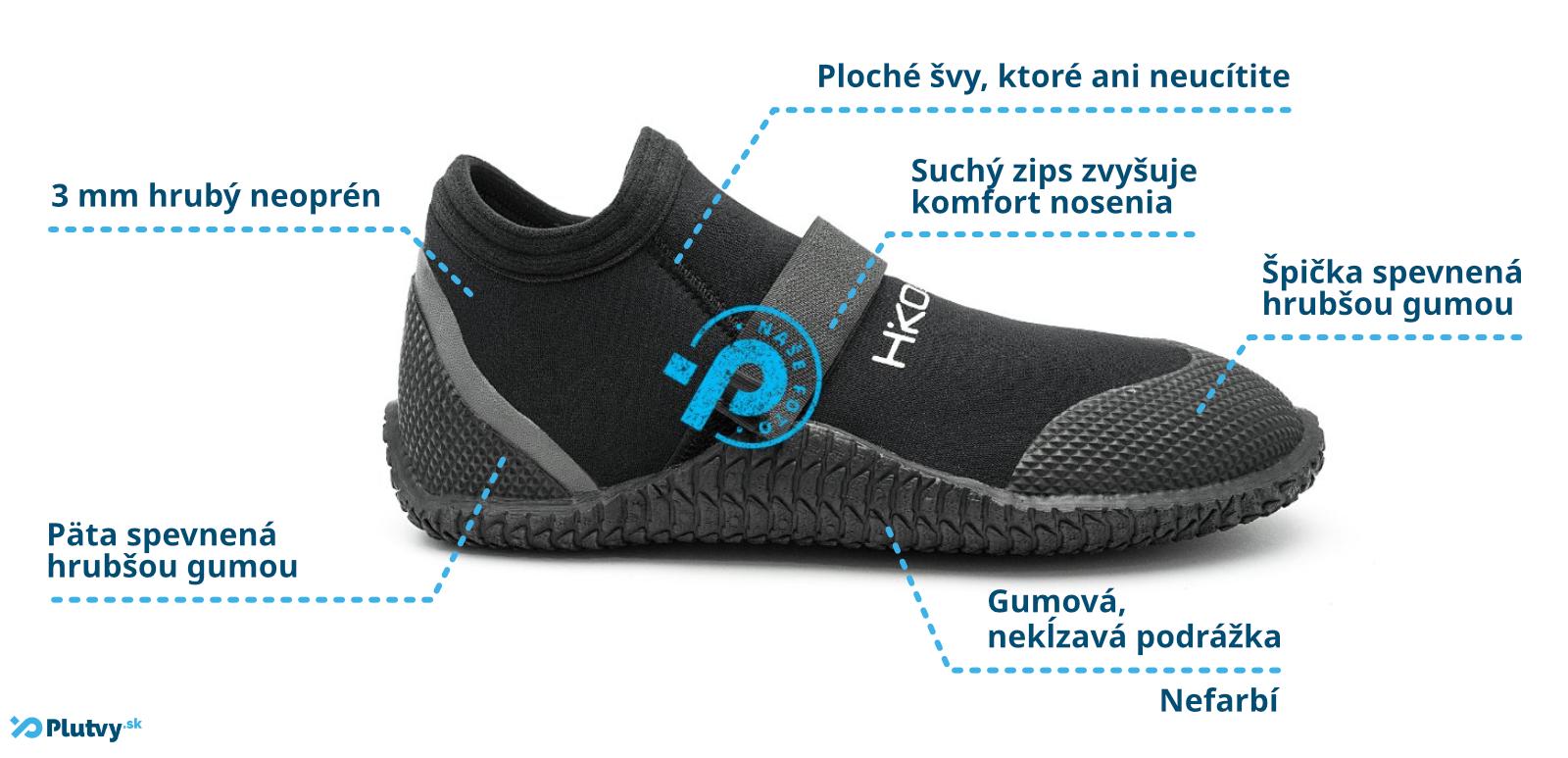 neoprénové topánky Hiko Sneaker so suchým zipsom, pevná podrážka, chránená päta a špička, Plutvy.sk Bratislava
