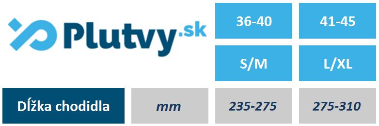 Tabuľka veľkosti, rozmerov remienkových plutiev Scubapro Snorkel Plus z eshopu Plutvy.sk